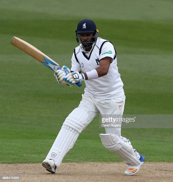 Jeetan Patel of Warwickshire plays the ball during the Specsavers County Championship One match between Warwickshire and Yorkshire at Edgbaston on...