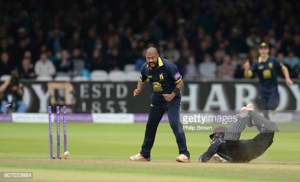 Jeetan Patel of Warwickshire reacts as Tom Curran of Surrey is run out during the Royal London oneday cup final cricket match between Warwickshire...