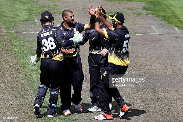 Jeetan Patel of Wellington celebrates the dismissal of Brad Wilson of Otago during the Ford Trophy match between the Volts and the Firebirds on...