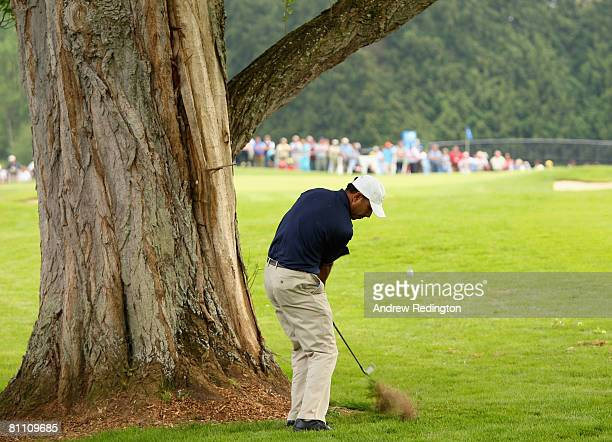 Jeev Milka Singh of India hits his second on the 15th hole during the second round of the Irish Open on May 16 2008 at the Adare Manor Hotel and Golf...