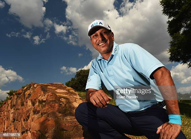 Jeev Milka Singh of India poses for a picture prior to the start of the Tshwane Open at Pretoria Country Club on March 10 2015 in Pretoria South...