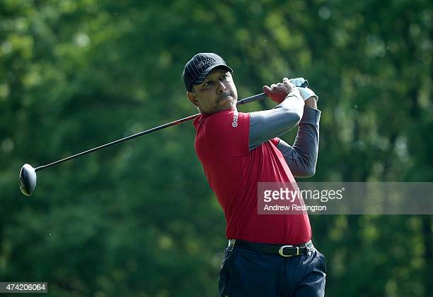 Jeev Milkah Singh of India tees off on the 3rd hole during day 1 of the BMW PGA Championship at Wentworth on May 21 2015 in Virginia Water England