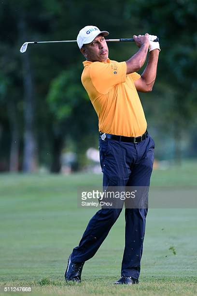 Jeev Milkha Singh of India in action during round two of the Maybank Championship Malaysia at Royal Selangor Golf Club on February 19 2016 in Kuala...