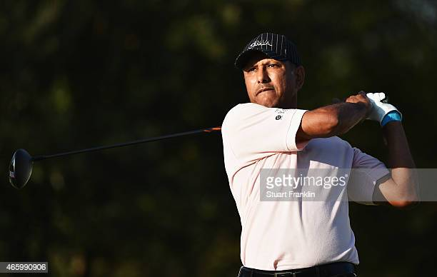 Jeev Milkha Singh of India plays a shot during the first round of the Tshwane Open at Pretoria Country Club on March 12 2015 in Pretoria South Africa