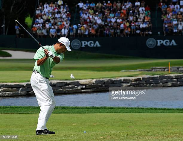 Jeev Milkha Singh of India plays a shot to the 16th hole during round two of the 90th PGA Championship at Oakland Hills Country Club on August 8 2008...