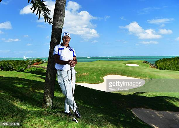 Jeev Milkha Singh of India poses for a picture prior to the start of AfrAsia Bank Mauritius Open at Four Seasons Golf Club Mauritius at Anahita on...
