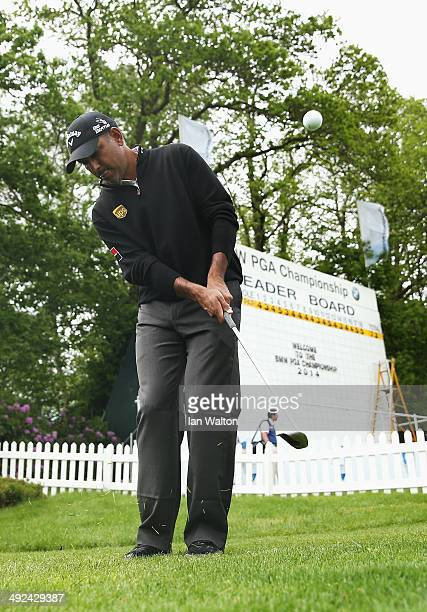 Jeev Milkha Singh of India practices his chipping ahead of the BMW PGA Championship at Wentworth on May 20 2014 in Virginia Water England