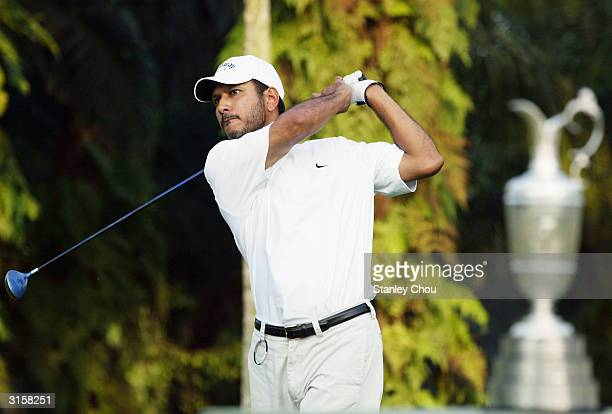 Jeev Milkha Singh of India tees off at the 1st tee during Day One of the Asian Qualifying Leg for the British Open Golf Championships at the Saujana...