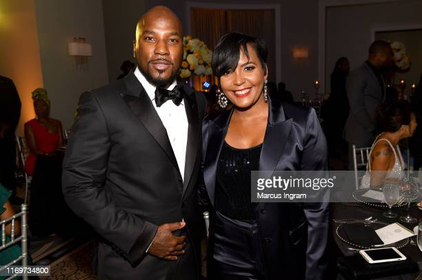 Jeezy and Mayor of Atlanta Keisha Lance Bottoms attend the Inaugural SnoBall for his NonProfit Street Dreamz Foundation at Waldorf Astoria Atlanta...