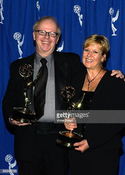 Jef Billings and Regina Winters hold the Emmy for Outstanding Costumes For A Variety or Musical at the 56th Annual Primetime Emmy Awards Creative...