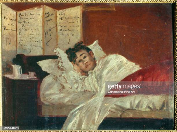 Jef Rosman Belgian School Arthur Rimbaud in his Bed Wounded by Verlaine in 1873 Oil on Mahogany CharlevilleMezieres Rimbaud Museum