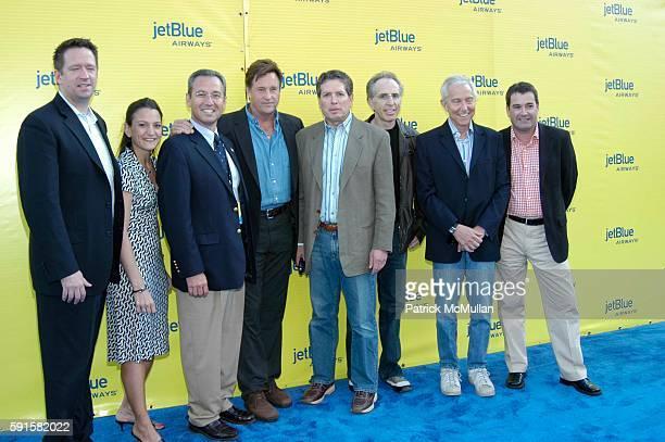 Jef Vander Borght Robert Hayes David Zucker Jerry Zucker Jim Abrahams and Tim Clayton attend JetBlue Airways' launch event in Los Angeles at Warner...