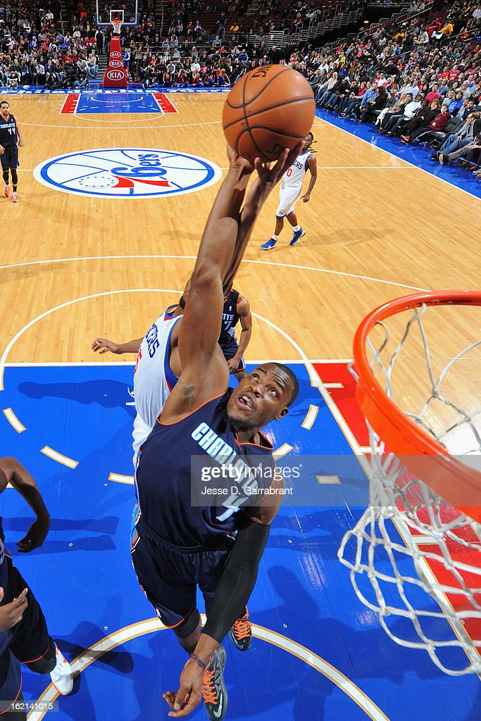 Jeff Adrien #4 of the Charlotte Bobcats grabs a rebound against the Philadelphia 76ers at the Wells Fargo Center on February 9, 2013 in Philadelphia, Pennsylvania.