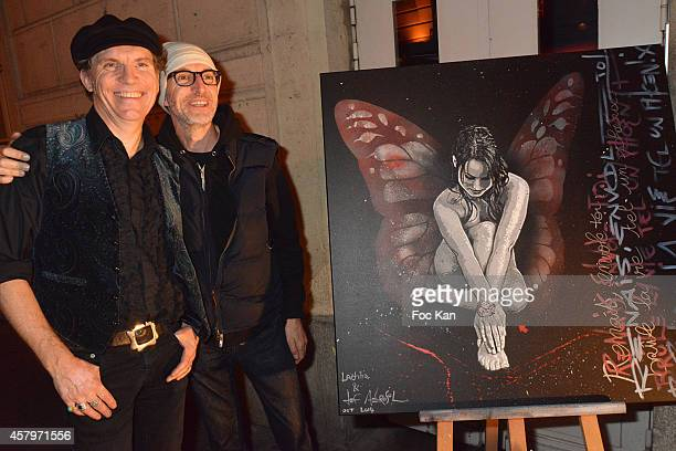 Jeff Aerosol and Paul Stewart attend the 'Skin Fais Moi Ma Peau' Against Women Breast Cancer Auction Exhibition Preview At the Galerie Catherine...
