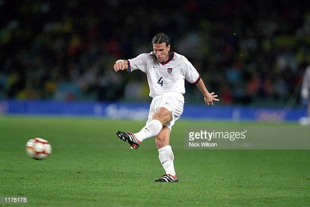 Jeff Agoos of the United States passes the ball during the Olympic Men's Soccer competition at Sydney Stadium in Sydney Australia on September 26 2000