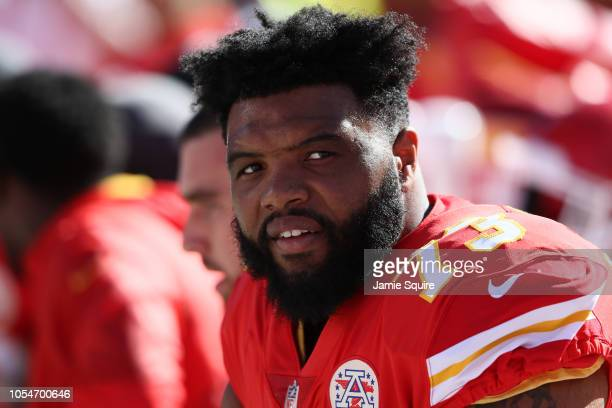 Jeff Allen of the Kansas City Chiefs of the Kansas City Chiefs sits on the bench after a scoring drive during the third quarter of the game against...