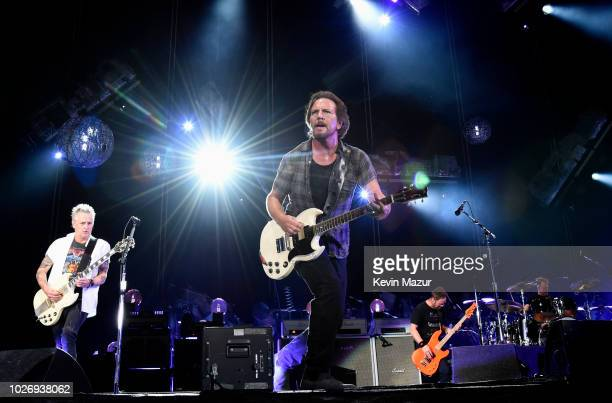 Jeff Ament Mike McCready Matt Cameron Stone Gossard and Eddie Vedder of Pearl Jam perform at Fenway Park on September 4 2018 in Boston Massachusetts