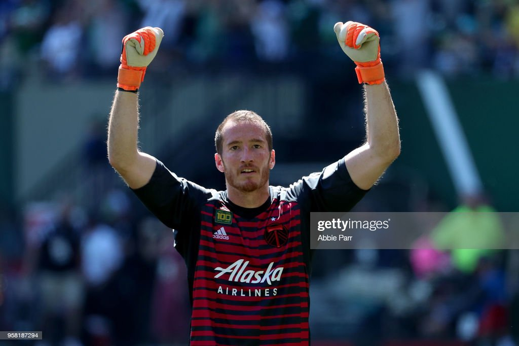 Jeff Attinella #1 of the Portland Timbers reacts following the Timbers' 1-0 win to the Seattle Sounders during their game at Providence Park on May 13, 2018 in Portland, Oregon.