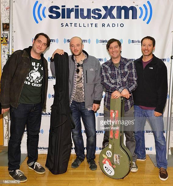 Jeff Austin Ben Kaufmann Dave Johnston and Adam Aijala of Yonder Mountain String Band visit SiriusXM Studios on October 29 2013 in New York City