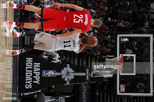 Jeff Ayres of the San Antonio Spurs attempts a free throw during a game against the Houston Rockets on December 25 2013 at the ATT Center in San...