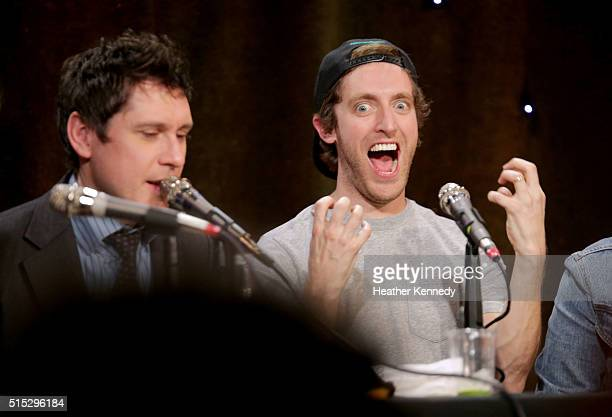 Jeff B Davis and Thomas Middleditch speak onstage at HarmonQuest during the 2016 SXSW Music Film Interactive Festival at Esther's Follies on March 12...