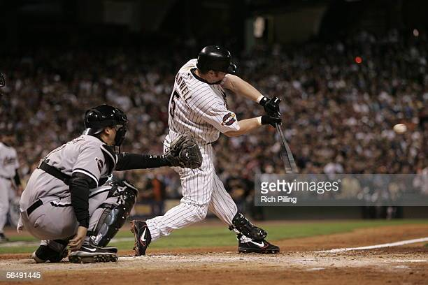 Jeff Bagwell of the Houston Astros bats as AJ Pierzynski of the Chicago White Sox catches during Game Three of the Major League Baseball World Series...