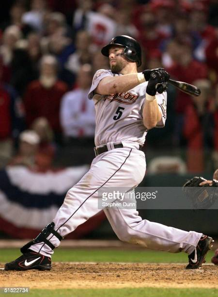 Jeff Bagwell of the Houston Astros hits a single to bring in the gametying run in the ninth inning of Game 6 of the National League Championship...