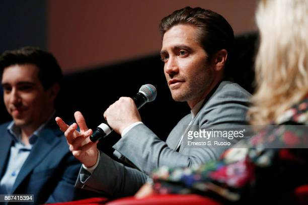 Jeff Bauman and Jake Gyllenhaal attend 'Stronger' press conference during the 12th Rome Film Fest at Auditorium Parco Della Musica on October 28,...