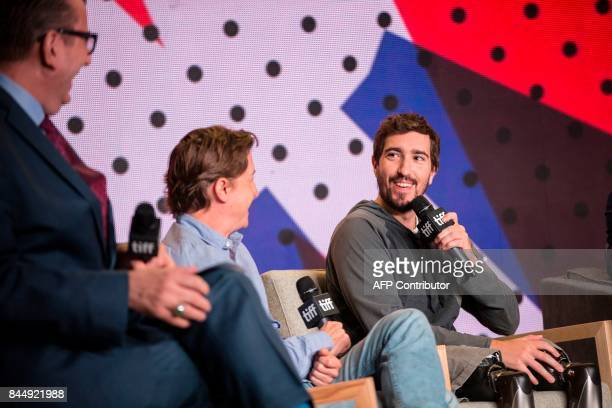 Jeff Bauman speaks during the press conference for Stronger at the Toronto International Film Festival in Toronto on September 9 2017 / AFP PHOTO /...