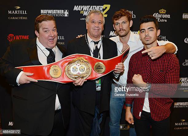 Jeff Beacher Alex Pettyfer and Joe Jonas arrive at Showtime's VIP PreFight party for 'MAYHEM MAYWEATHER VS MAIDANA 2' at MGM Grand Garden Arena on...