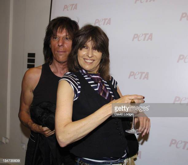 Jeff Beck and Chrissie Hynde during PETA's Humanitarian Awards Inside at 30 Bruton Street in London Great Britain