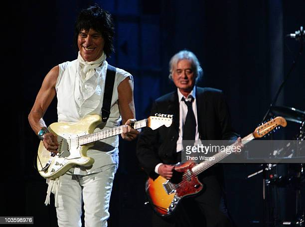 Jeff Beck and Jimmy Page perform onstage at the 24th Annual Rock and Roll Hall of Fame Induction Ceremony at Public Hall on April 4 2009 in Cleveland...