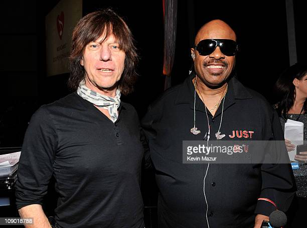 Jeff Beck and Stevie Wonder attends 2011 MusiCares Person of the Year Tribute to Barbra Streisand at Los Angeles Convention Center on February 11...