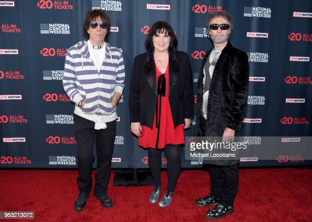 Jeff Beck, Ann Wilson and Paul Rodgers attend Live Nation's celebration of the 4th annual National Concert Week at Live Nation on April 30, 2018 in...