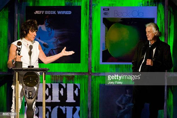 Jeff Beck is inducted by Jimmy Page during the 24th Annual Rock and Roll Hall of Fame Induction Ceremony at Public Hall on April 4 2009 in Cleveland...