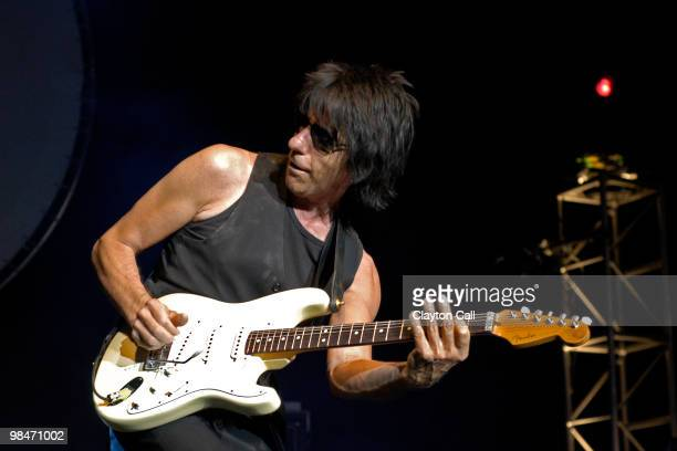Jeff Beck performing at the Concord Pavilion in Concord, California on August 1, 2003. He plays a Fender Stratocaster guitar.