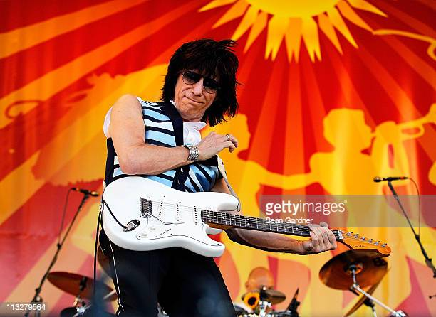 Jeff Beck performs during day 1 of the 2011 New Orleans Jazz Heritage Festival at the Fair Grounds Race Course on April 29 2011 in New Orleans...