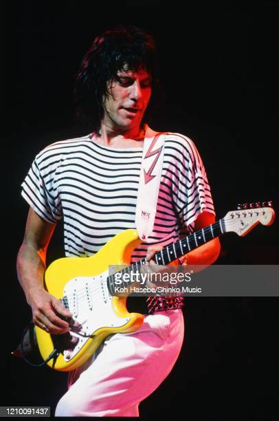 Jeff Beck performs on stage at Karuizawa Prince Hotel Open Air, Nagano, Japan, 1986. He is playing a Fender Stratocaster guitar.