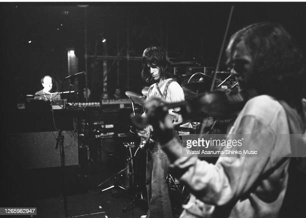 Jeff Beck performs on stage at the Roundhouse, London, 23rd May 1973. He was supporting Alvin Lee and playing a warm up show before the US tour to...
