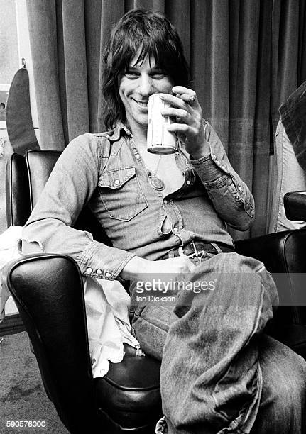 Jeff Beck pictured backstage London 1974