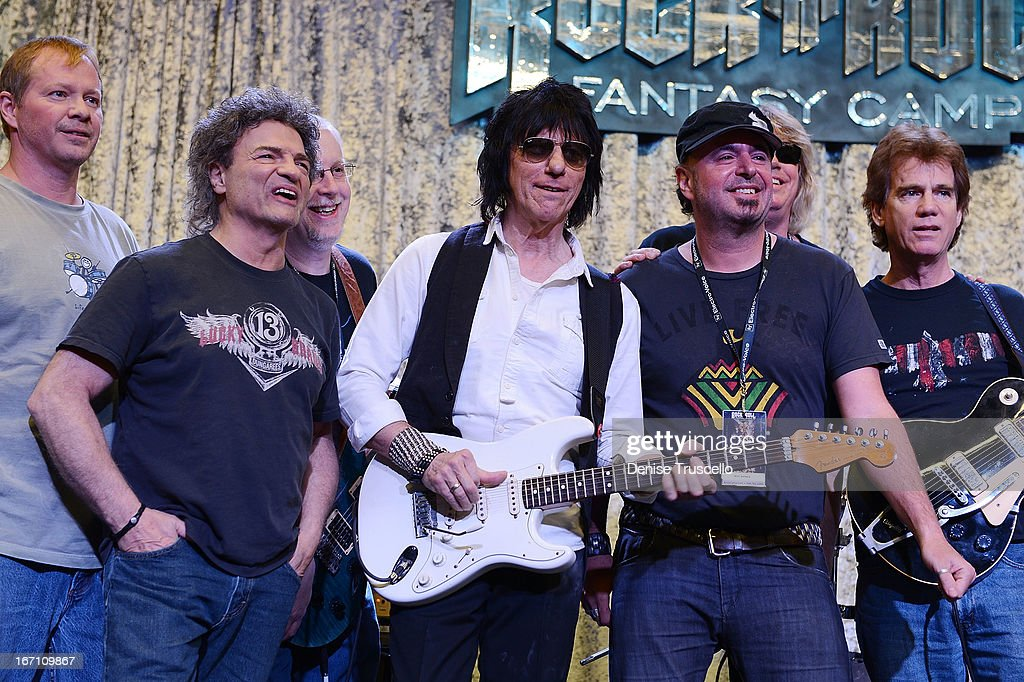 Jeff Beck plays guitar with Rock 'n' Roll Fantasy Camp campers on April 20, 2013 in Las Vegas, Nevada.