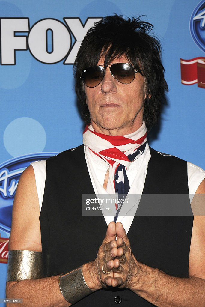 Jeff Beck poses in the press room at Idol Gives Back at Pasadena Civic Center on April 21, 2010 in Pasadena, California.