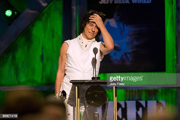 Jeff Beck speaks onstage during the 24th Annual Rock and Roll Hall of Fame Induction Ceremony at Public Hall on April 4 2009 in Cleveland Ohio
