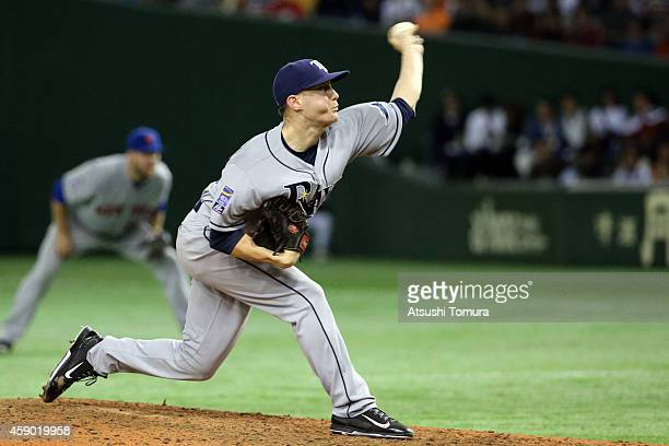 Jeff Beliveau of the Tampa Bay Rays pitches in the seventh inning during the game three of Samurai Japan and MLB All Stars at Tokyo Dome on November...