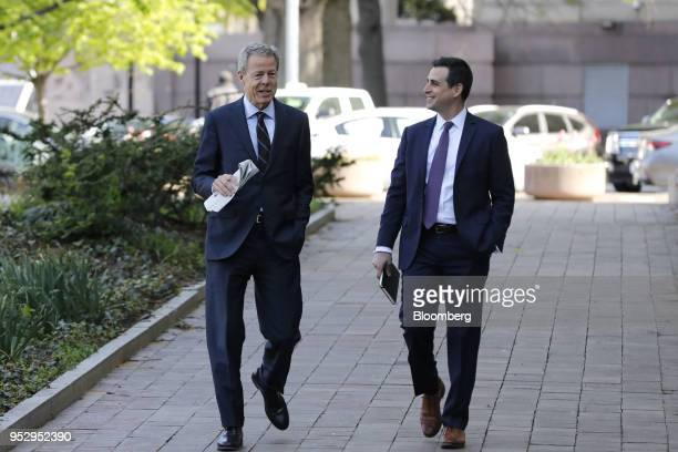 Jeff Bewkes chairman and chief executive officer of Time Warner Inc left arrives at federal court in Washington DC US on Monday April 30 2018 Time...