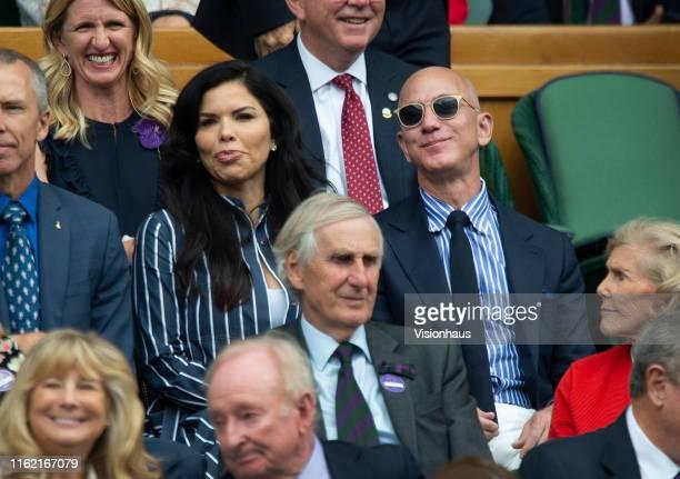 Jeff Bezos and his partner Lauren Sanchez in the Centre Court Royal Box for the Final of the Gentlemen's Singles between Novak Djokovic of Serbia and...