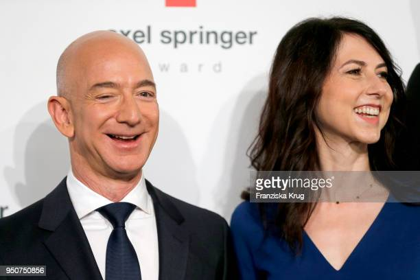 Jeff Bezos and his wife MacKenzie Bezos attend the Axel Springer Award 2018 on April 24 2018 in Berlin Germany Under the motto An Evening for Jeff...