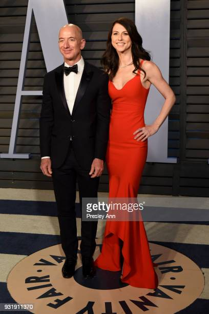 Jeff Bezos and MacKenzie Bezos attend 2018 Vanity Fair Oscar Party Hosted By Radhika Jones Arrivals at Wallis Annenberg Center for the Performing...