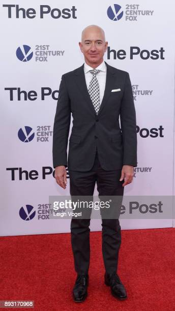 Jeff Bezos arrives at The Post Washington DC Premiere at The Newseum on December 14 2017 in Washington DC
