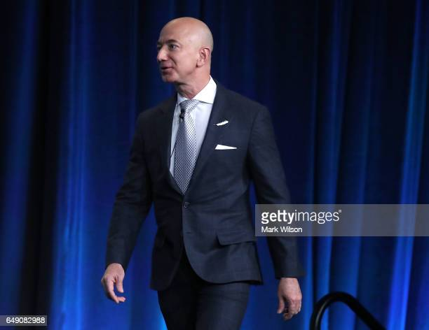 Jeff Bezos CEO of Amazon and founder of Blue Origin is introduced to speak at the Access Intelligence's SATELLITE 2017 conference at the Washington...